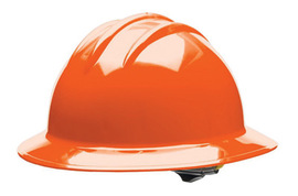 Bullard 33ORR  Orange Classic C33 HDPE Full Brim Hard Hat With 6 Point Ratchet Suspension Absorbent Cotton Brow Pad And Chin Strap Attachment