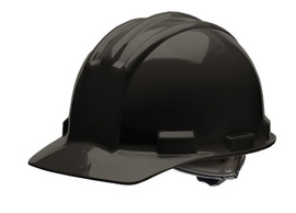 Bullard 51BKP  Black Standard S51 HDPE Cap Style Hard Hat With 4 Point Pinlock Suspension, Accessory Slots And Absorbent Polyester Brow Pad