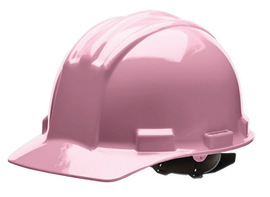 Bullard 51LPP  Pink Standard S51 5100 Series HDPE Cap Style Hard Hat With Flex Gear 4 Point Pinlock Suspension, Accessory Slots, Absorbent Cotton Brow Pad, Chin Strap Attachment, And Rain Trough