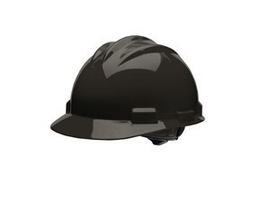 Bullard 61BKP  Black Standard S61 HDPE Cap Style Hard Hat With 4 Point Pinlock Suspension, Accessory Slots And Absorbent Polyester Brow Pad