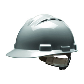 Bullard 62DGP  Gray Standard S62 HDPE Cap Style Hard Hat With 4 Point Pinlock Suspension, Accessory Slots And Absorbent Polyester Brow Pad
