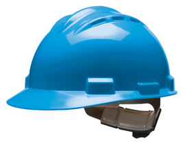 Bullard 62PBP  Blue Standard S62 HDPE Cap Style Hard Hat With 4 Point Pinlock Suspension, Accessory Slots And Absorbent Polyester Brow Pad