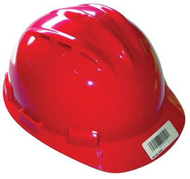 Bullard 62RDP  Red Standard S62 HDPE Cap Style Hard Hat With Flex Gear 4 Point Pinlock Suspension, Accessory Slots, Absorbent Cotton Brow Pad, Chin Strap Attachment, And Rain Trough