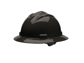 Bullard 71BLR  Black Standard S71 HDPE Full Brim Hard Hat With 4 Point Ratchet Suspension, Accessory Slots And Absorbent Polyester Brow Pad