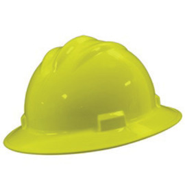 Bullard 71HYP  Hi-Viz Yellow Standard S71 HDPE Full Brim Hard Hat With 4 Point Pinlock Suspension, Accessory Slots And Absorbent Polyester Brow Pad