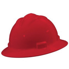 Bullard 71RDP  Red Standard S71 HDPE Full Brim Hard Hat With 4 Point Pinlock Suspension, Accessory Slots And Absorbent Polyester Brow Pad