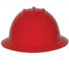 Bullard 9HRDP  Red 911H Thermoplastic Full Brim Hard Hat With Self-Sizing 6 Point Pinlock Suspension And Sportek Brow Pad